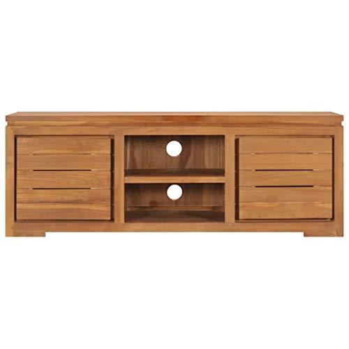 Bassette Unidad de gabinete de TV con 2 Puertas y Almacenamiento Abierto Muebles de Madera Maciza