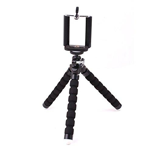 Kentop Kamera Ständer für Digital Kamera, Actions Cam Go Pro, Handy Stativ Flexibel Leichtes Outdoor Handy Dreibein Halter für iPhone, Samsung, Huawei und Andere Smartphone (Schwarz)