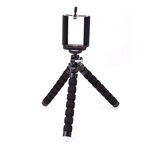 Kentop Cámara Soporte para cámara digital, Actions Cam Go Pro, Teléfono móvil trípode flexible ligero Teléfono Móvil, Negro , 185*42*36mm