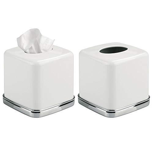 mDesign Kosmetiktücherbox quadratisch - praktische Tissuebox für das Badezimmer aus Metall mit weißem Finish und Chrom-Akzenten - Papiertuchbox in modernem & minimalistischem Design - 2er Set