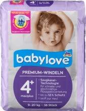 babylove pannolini Premium, taglia 4+, maxiplus 9 – 20 kg, 1 x 38 pezzi