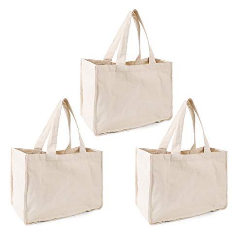 metagio 3 bolsas de compras reutilizables de algodón con asas, lavables y ecológicas, bolsas de playa perfectas para picnic y bolsa de almacenamiento.