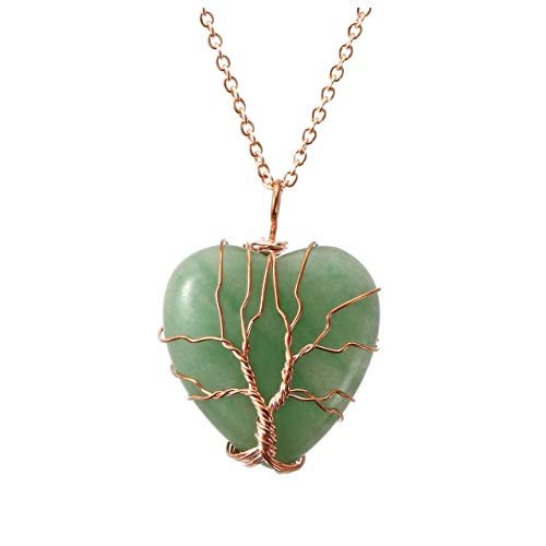 Top Plaza Natural Green Aventurine Healing Crystals Necklace Tree of Life Wire Wrapped Stone Heart Pendant Necklaces Reiki Quartz Jewelry for Womens Girls Ladies