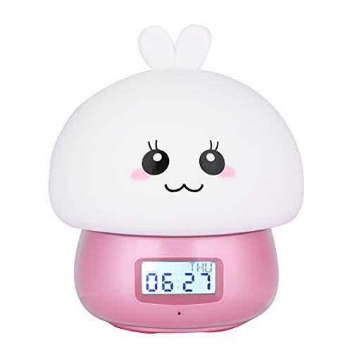 zcyg 7 colores LED silicona luz lindo conejo lámpara grabadora con reloj despertador remoto ojos estrangulados