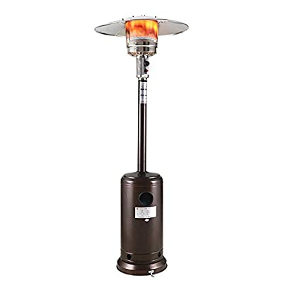 YUESUO Outdoor Patio Heater with Wheels Portable 46000 BTU?Freestanding Outdoor heaters for Patio Propane Auto Shut Off 88 Inches for Garden Wedding,Party?Bronze