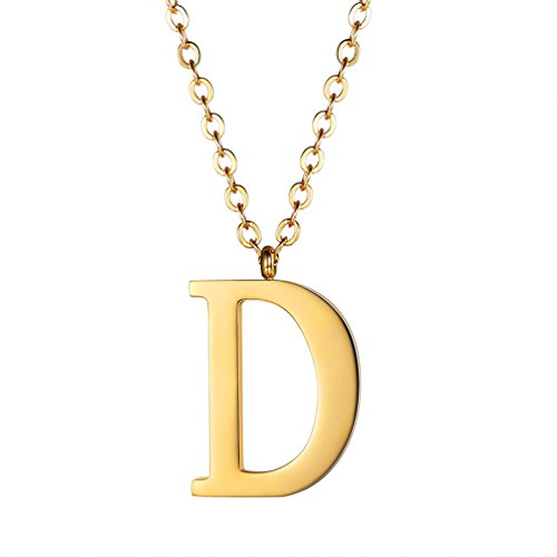 PROSTEEL Small Letters Necklaces for Women Girls Gold Initial Pendant Chain 55cm English Letter Jewelry Gift