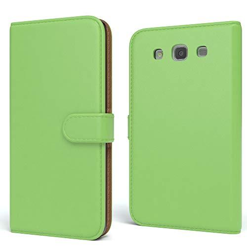 EAZY CASE Tasche kompatibel mit Samsung Galaxy S3 / S3 Neo Schutzhülle mit Standfunktion Klapphülle Bookstyle, Handytasche Handyhülle mit Magnetverschluss & Kartenfach, Kunstleder, Grün