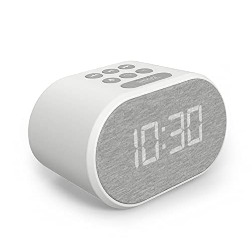 Alarm Clock Bedside Non Ticking LED Backlit Alarm Clock with USB Charger & FM Radio, 5 Step Dimmable Display - Wall Outlet Powered with Battery Backup
