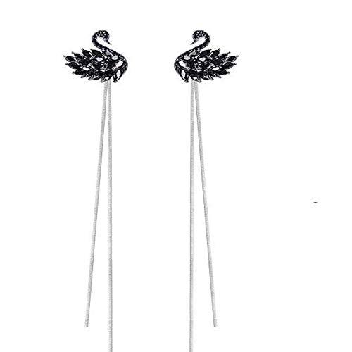 Arete Nuevos Pendientes De Cisne Blanco Y Negro De Diamantes De Moda Simple Pendientes De Borla Largos Pendientes De Perlas