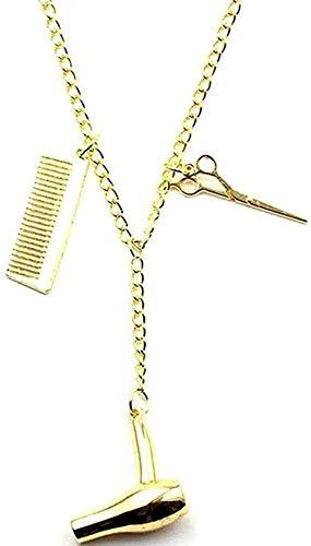 Aluyouqi Co.,ltd Collar Mujer Hombre Cadena Larga Esteticista Amigos Regalo Peluquero Collar secador de Pelo/Tijeras/Peine Colgante Collar Colgante