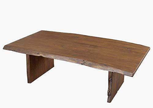 Table basse 150x70cm - Bois massif d'acacia laqué (Brun classique) - PURE EDGE #006