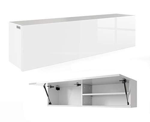 RODRIGO PlatanRoom Badschrank weiß schwarz 120 x 30 x 25 cm breit Badmöbel Badezimmer Hängeschrank Schrank Hänger Hochglanz