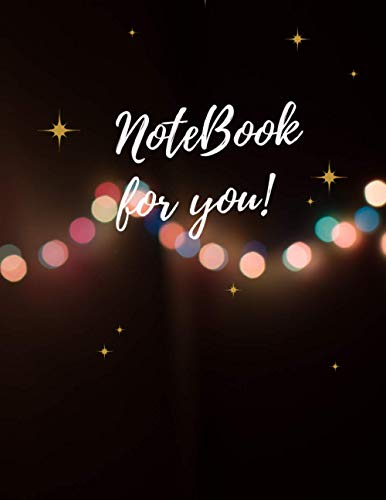 Unlined notebook Bokeh photography of string lights cover, Unlined,Blank page, 100 pages - Large(8.5 x 11 inches)