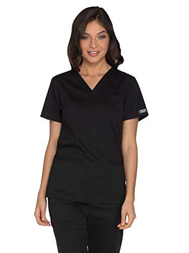 Workwear Core Stretch Women Scrubs Top V-Neck WW630, S, Black