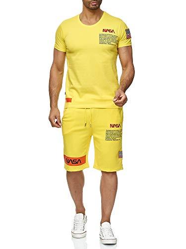 Red Bridge Herren T-Shirt und Shorts Jogginganzug Kurze Hose Set Sweat Pants NASA Logo M1295-M4854 Gelb XL