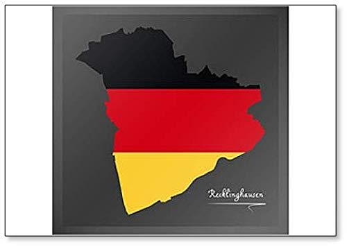 Deutschland Recklinghausen - Stadtkarte mit Nationalflagge Deutschland - Illustration Kühlschrankmagnet