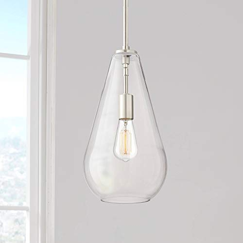 Burgen Brushed Nickel Mini Pendant Light 8 1/2' Wide Modern...