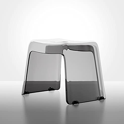 SS&LL Transparent Acryl Dusche Hocker,Verdicken Rückenfreie Badezimmer Hocker Stuhl,Nicht-Slip Wasserdicht Badehocker Tritthocker Für ältere Kinder-Grau 38.5x26x29cm(15x10x11inch)