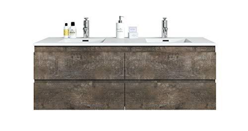 Badezimmer Badmöbel Set Angela 140cm Stone ash - Unterschrank Schrank Waschbecken Waschtisch