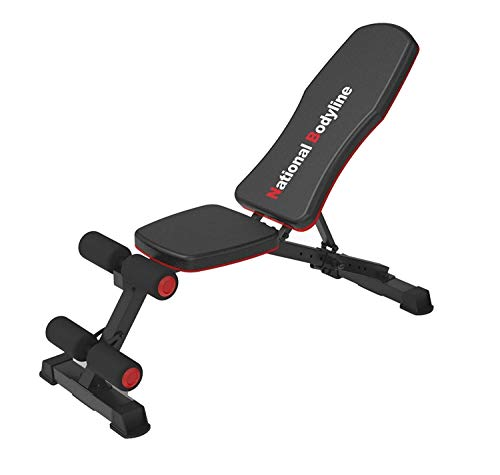 NATIONAL BODYLINE Adjustable Weight Bench Full Body Workout Machine| Foldable Incline Decline Flat Bench Press| Exercise Table| Heavy Duty Gym Bench for Strength Training| Multi Bench (ABD 1200)