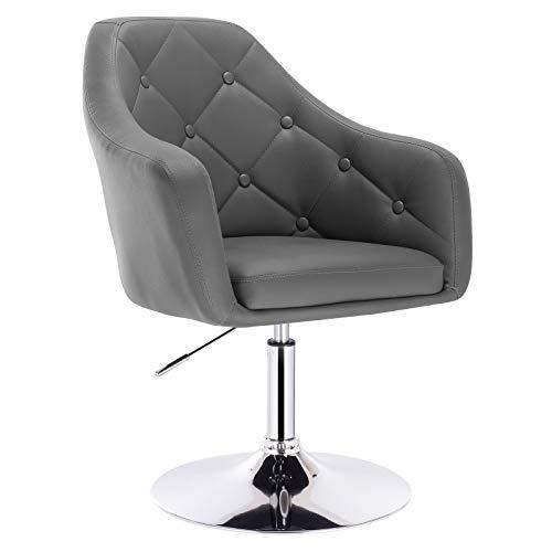 WOLTU® BH104gr 1x Barsessel Loungesessel, stufenlose Höhenverstellung, verchromter Stahl, Kunstleder, gut gepolsterte Sitzfläche mit Armlehne und Rücklehne, Grau