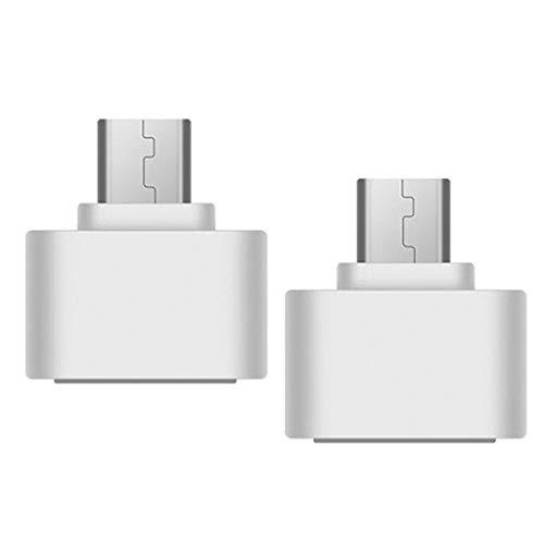 H HILABEE 2X Convertidor de Adaptador OTG Hembra Micro a USB 2.0 Hembra Duradero para Android