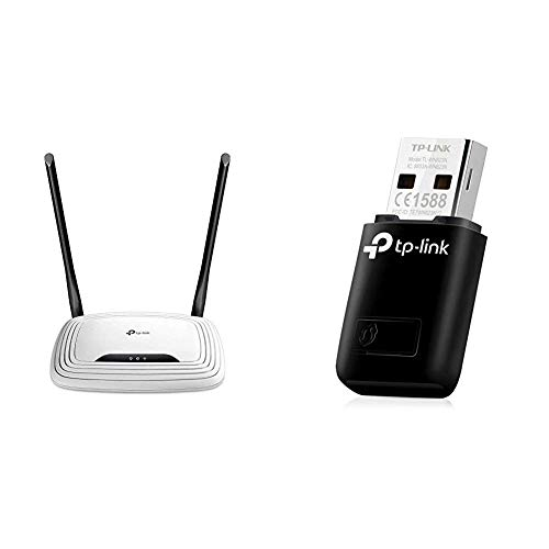 TP-Link TL-WR841N N300 WLAN Router (300Mbit/s (2,4GHz), 4 x 10/100Mbit/s LAN Ports), weiß/ schwarz & TL-WN823N N300 Mini WLAN USB Adapter (bis zu 300Mbit/s (2,4 GHz)) schwarz