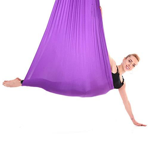 Oreilet Columpio de Yoga aéreo de 2.8x1m / 9.2x3.3ft, Hamaca de Yoga, para Principiantes Profesionales Gimnasio en casa(Dark Purple, 12)
