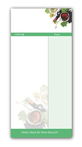 Kellnerblöcke-Set (Wein Motiv, 20 Stück) - Premium Kellnerblöcke mit je 20 Blatt pro Block. Für Gastronomie / Restaurant / Gaststätte / Kneipe / Café / Getränke