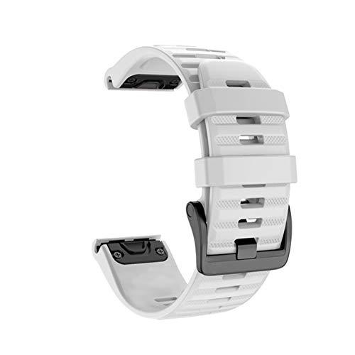 XIAOSHI Armband Damen 20 22 26mm Smart Watchband Riemen für Garmin Fenix 6 6S 6X 5X 5 5s 3 Stunden Vorrunner 935 945 Schnellspanner-Silikon-Armband Armband (Color : White, Size : 26mm)