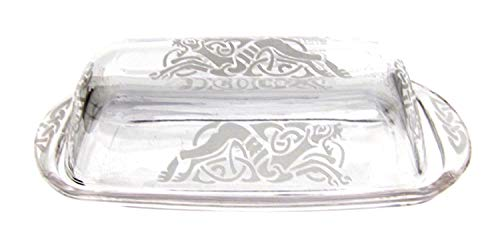 IncisoArt Hand Etched Permanently Sandblasted (Sand Carved) Butter Dish Serving Tray Handmade USA (Celtic Dragon)
