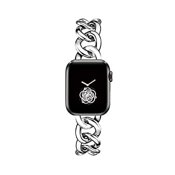 38/40mm Silver Cool Chain Metal Bands for Women Apple Watch Bands SE Series 5 Series6 Man Adjustable Replacemnet Band for Iwatch SE Series 6/5/4/3/2/1