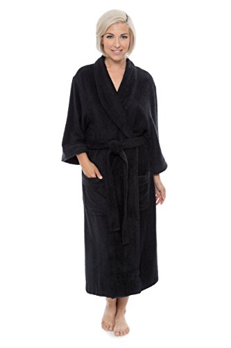 Women's Luxury Terry Cloth Bathrobe - Bamboo Viscose Robe by Texere (Ecovaganza, Black, Small/Medium) Comfortable Wrap Robes for Teen Girls Ladies Women WB0101-BLK-SM