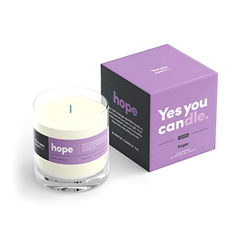 Yes You Candle - Hope, Inspirational 8oz Highly Scented Candle, Soy, Made in USA, Great Message, Pure Essential Oils, Perfect Gift, Aromatherapy, 100% Pure, Vanilla and Sandalwood