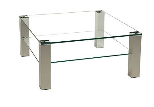 Brisbane1011-A tischdesign24 Couchtisch 12mm Glasplatte. Stollen 80x80mm echt Edelstahl gebürstet versiegelt mit Rollen. Ausführung: Klarglas 42cm Höhe Größe: 70 x 70 cm Quadratisch mit Ablage