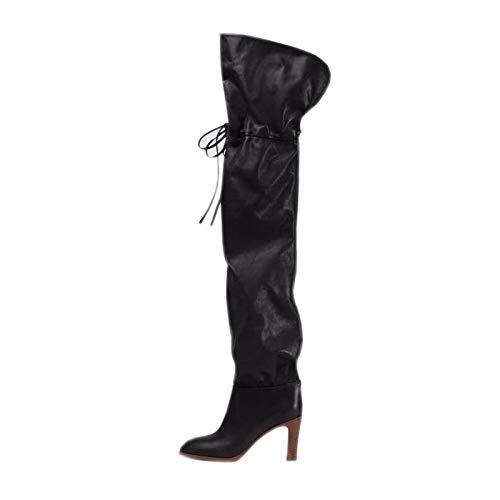 XSY Herbst Hohe Stiefel,Heels Stiletto Stretch Damen Overknee Boots Pumps Damenschuhe Pump High Heels Schwarz,Schwarz,34