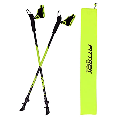 FitTrek Bastoni per Nordic Walking Uomo Donna - Bastoncini Nordic Walking in Alluminio Confezione da 2 - Racchette Trekking ultraleggeri regolabili per Camminata, Trail, Camp, Alpinismo