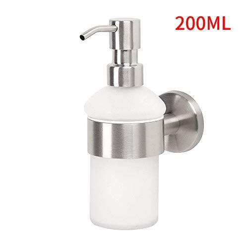 Powstro Flüssigseifenspender und -Halter, 200 ml Seifenspender aus Milchglas an der Wand und Halter aus Edelstahl 304 für Waschbecken im Bad oder in der Küche-Plastic Head