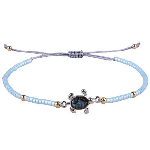 KELITCH Armbänder Zum Damen Männer Japanisch Importieren Perle Empfindlich Schildkröte Handgefertigt Einstellbar String Armreif Freundschaft Charme Armband Zum Mädchen (Blue)