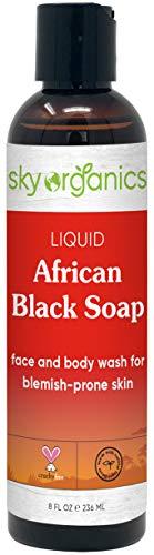 Liquid African Black Soap (8 oz) Black Soap Face & Body Wash Authentic African Black Liquid Soap Wash from Ghana African Black Soap Face Wash African Face & Body Wash - Vegan Cruelty-free