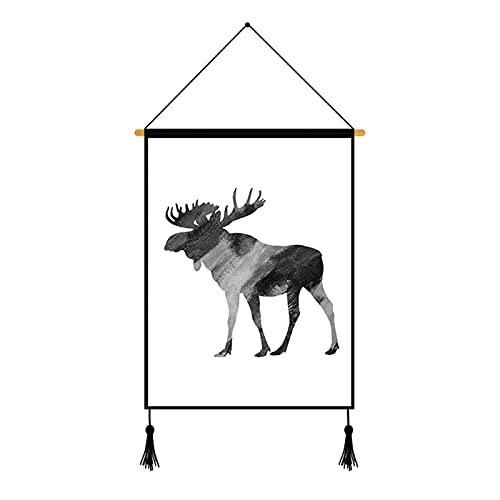 Pinturas Colgantes De Patrón De Animal Pequeño Simple, Pinturas De Decoración De La Pared Del Dormitorio De La Sala De Estar, Pinturas Murales De Decoración De Interiores De Estilo Europeo 1Pcs