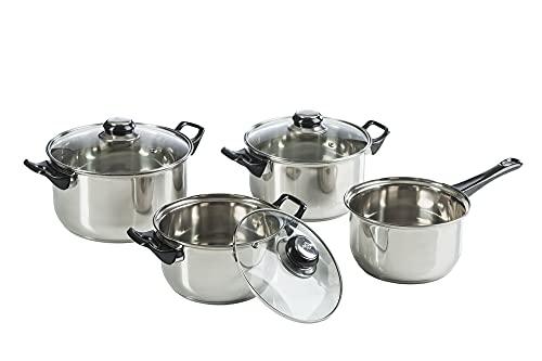Metlex Töpfen-Set 7 Teile, 4 Kochtöpfe mit Glasdeckeln, ein Stieltopf ohne Deckel, aus Stahl, Kunststoffgriffe, für Gasherd geeignet, spülmaschinengeeignet
