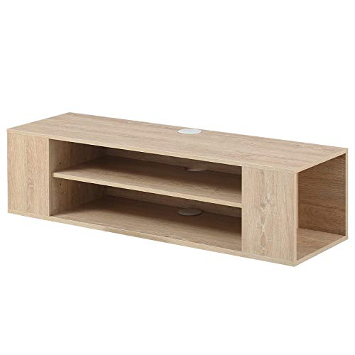 FITUEYES Madera Grano Mesa Flotante para TV Mueble para TV en la Pared Color Negro Madera