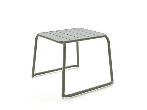 CAIRO Designer Beistelltisch Malaga Balkontisch grün - Kleiner Gartentisch aus Aluminium, Outdoor Lounge Tisch, Terrassentisch wetterfest HxBxT 49x65,2x60,5 cm