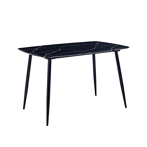 Modern Wood Dining Room Table Black Marble Effect, Small Kitchen Table Only Rectangular for 2/4/6 People Use Dinette Apartment (Black)