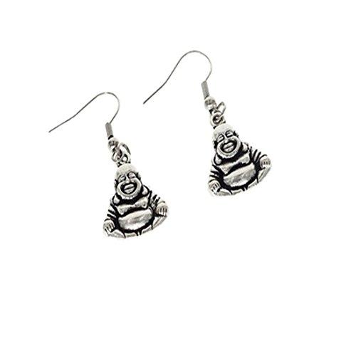 Boeddha oorbellen zilveren oorbellen spirituele sieraden handgemaakte oorbellen zilver buddha charm oorbellen mode-sieraden zen sieraden