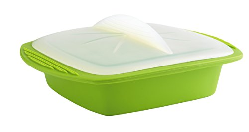 Silicone Minute Cooker - Use in Both Microwave and Oven - Heat Resistant Up to 430 Degrees F, 27oz Rapid Cook Container, Green - By Mastrad