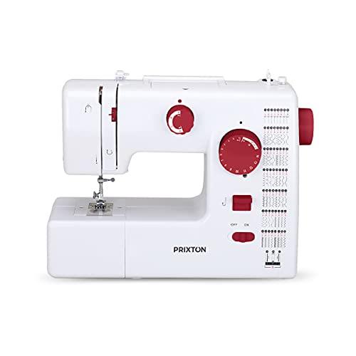 PRIXTON P130 - Maquina de coser Profesional Velocidad Ajustable 59 puntadas 15.2 x 33 x 42.5 cm - Granate