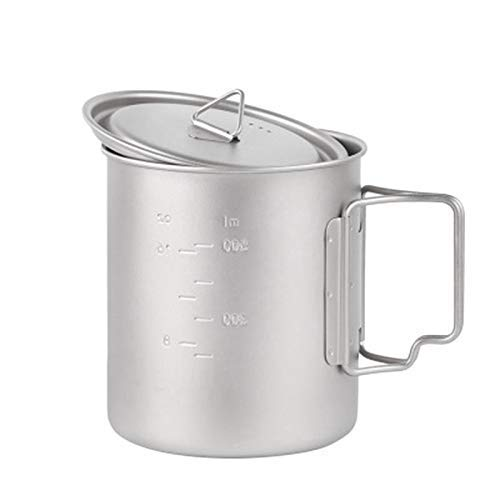 Friendo sartenes, ollas de estofado, ollas de sopa 750 ml Titanio puro de titanio puro, taza de agua plegable al aire libre, taza, gran capacidad, se puede quemar con la botella de agua caliente al ai