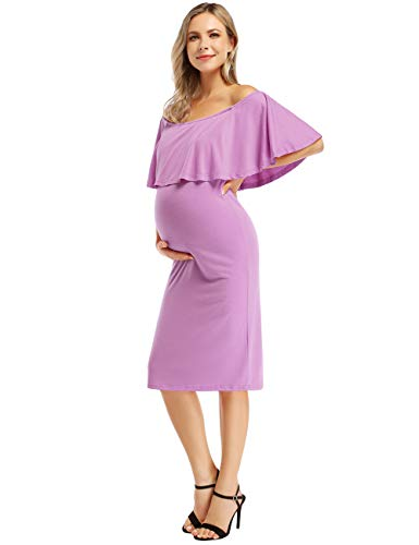 Coolmee Women's Maternity Dress Off Shoulder Casual Maxi Dress (M,Lightpurple)